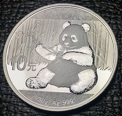 2017 China Panda Silver 30 grams .999 Fine - 10 Yuan Coin - In Capsule