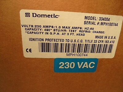Dometic # 334004 Boat Pump 230:V  Amps 1.0  490 Btu/Hr