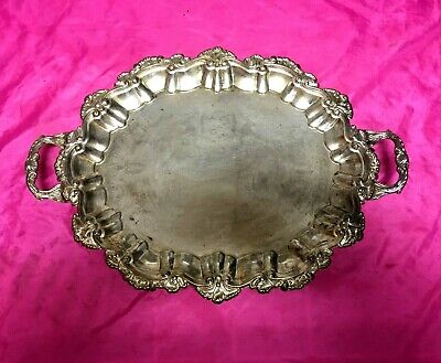 International Silver Co Claw Feet Scalloped Edge Ornate Silverplate Serving Tray