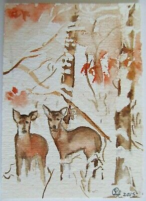 ACEO Original Watercolor Painting Deer Woods Trees Animals by Sherry Hartman USA