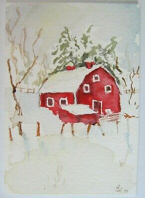 ACEO Original Watercolor Painting Red Barn Farm Snow Winter Sherry Hartman USA