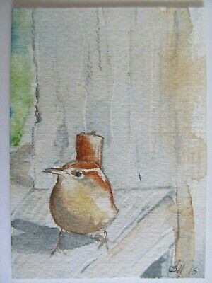 ACEO Original Watercolor Painting Bird Wren by Artist Sherry Hartman USA