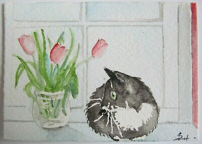 ACEO Original Watercolor Painting Tuxedo Cat Tulips by Artist Sherry Hartman USA