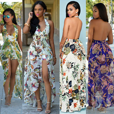 Women's Summer Boho Long Maxi Evening Party Beach Dress Romper Floral Sundress