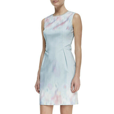 ELIE TAHARI Soft Sky Blue Watercolor Pastel Garden Party HOLLY Sheath Dress NWT
