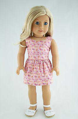 Spring Dress Pink / Flowers American Made Doll Clothes For 18 Inch Girl Dolls
