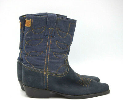 a53eb35946a 10 D VINTAGE ACME WESTERN DENIM COWBOY BOOTS blue suede orange ...