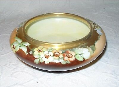 Antique Hand Painted Japanese Shallow Floral Design Gilded Candy/ Fruit Bowl EUC