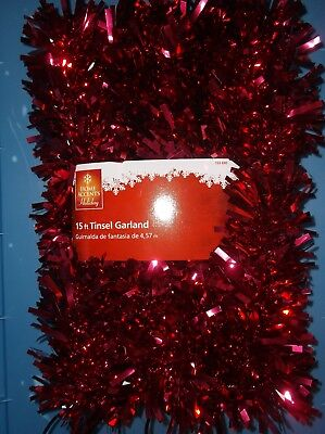 15 FT RED /& SILVER FOIL TINSEL GARLAND VALENTINES DAY CHRISTMAS TREE DECORATION