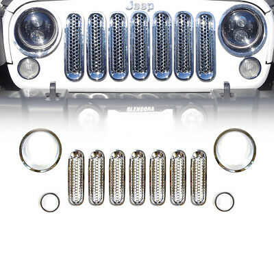 11pcs Chrome Front Grill Inserts & Light Trim Bezels For 2007-2017 Jeep Wrangler