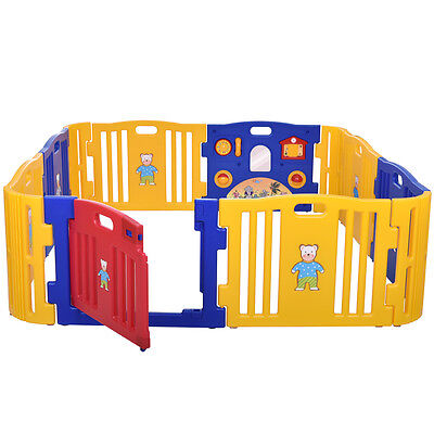 Baby Playpen Kids 12 Panel Safety Play Center Yard Home Indoor Outdoor Pen Fence