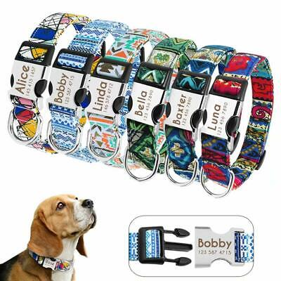 Small Large Dog Collar Personalized Metal Buckle Customized Engraved Pet ID Name