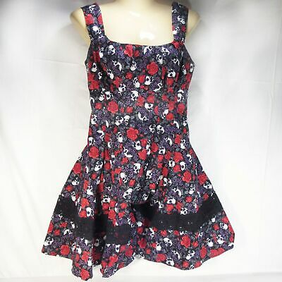 184d2fafbab Hot Topic Sun Dress Dahlia Day of the Dead Goth Size MD Skulls Roses Lace