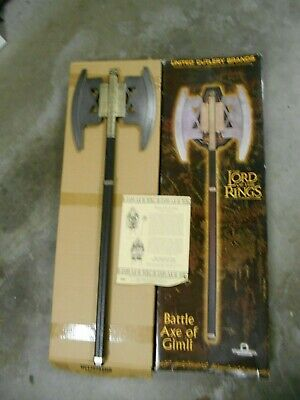 United Cutlery Lord Of The Rings Battle Axe Of Gimli In Box With Coa
