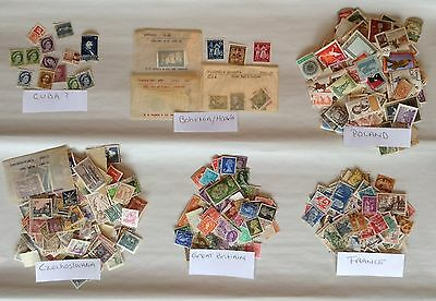 Large Lot of Vintage Stamps (1940s, 50s 60s & 70s ) Many Countries