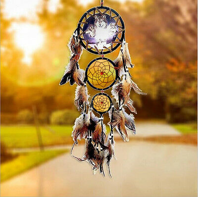 New Handmade Dream Catcher With Feathers Wall Hanging Decoration Ornament-Wolf