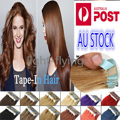 """10 PCS 16""""-20"""" PU Skin Tape in 100% Remy Real Human Hair Extensions AU Stock"""