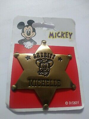 Sheriff Mickey Mouse Brass Star Badge Personalized MICHELLE Disney Pin