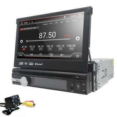 """Single 1 Din Android 8.1 Car DVD GPS 7"""" HD Flip Up Stereo Radio Player BT+Camera"""