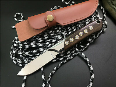 New Wood Handle Mirror Light Blade Full Tang Survival Bowie Hunting Knife ZT48