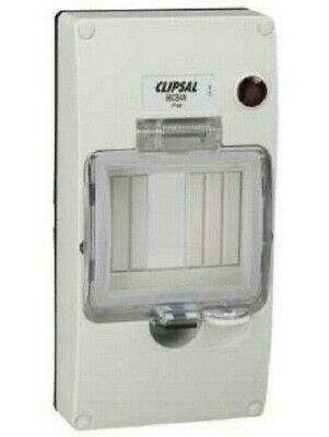 Clipsal 56-SERIES COVER WITH MOUNTING BRACKET & NEON 190x95x50mm 4-Module, Grey