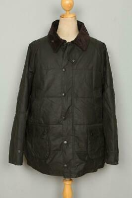 BARBOUR Down Touch Quilted Bedale WAXED Jacket Green Size XLarge