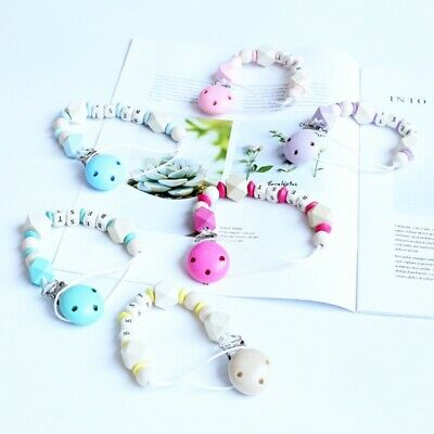 New Personalised Dummy Clip Pacifier Chain Dummy Clips Baby Gift Soother Holder