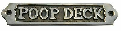 """POOP DECK"" Door Sign Nautical Antique Home Decor Vintage Handmade Solid Brass"