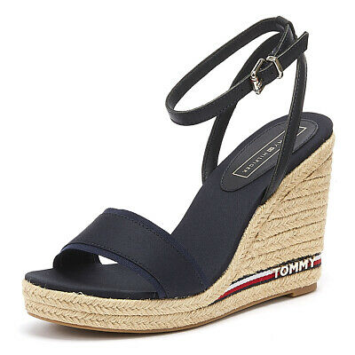 55724bd7bba9 Tommy Hilfiger Elena Ribbon Womens Midnight Wedge Sandals Ladies Summer  Shoes