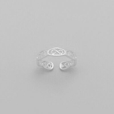 Tjs 925 Sterling Silver Flower Design Oxidised Toe Ring Adjustable Jewellery Clients First Toe Rings