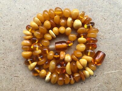 Old Geniune Natural Antique Baltic Vintage Amber  jewelry stone Necklace 18 g.