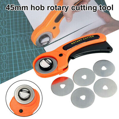 45mm Rotary Cutter Quilters Sewing Quilting Fabric Cutting Craft W/ 5pcs Blades