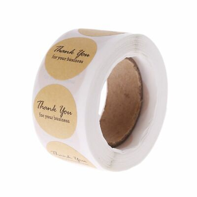 "500Pcs 1"" Thank you Business Sticker Kraft Paper Adhesive Labels Roll Round"