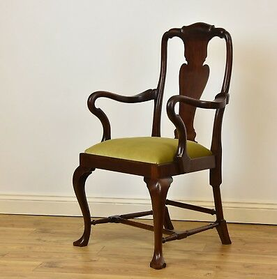 ANTIQUE QUEEN ANNE STYLE MAHOGANY SIDE ARMCHAIR Desk Chair Edwardian Velvet Seat