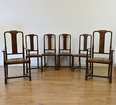 GOOD SET OF SIX ARTS & CRAFTS OAK & LEATHER DINING CHAIRS 4 + 2 Armchairs