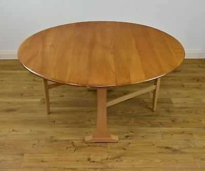 VINTAGE ERCOL LARGE LIGHT ELM WINDSOR  DROP LEAF DINING KITCHEN TABLE 1970s