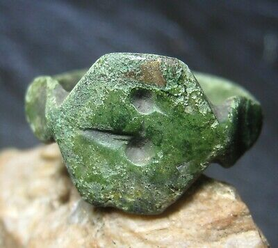 Ancient Vikings bronze ring with a primitive pattern of 9-12 centuries