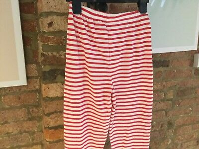 John Lewis - Girls  Pyjama Long Bottoms - White / Red Striped Pjs Aged 10