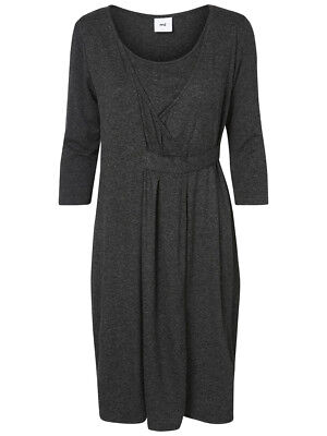 Mamalicious Maternity Nursing Jersey  Wrap Dress Adala Tess Charcoal Grey S UK 8