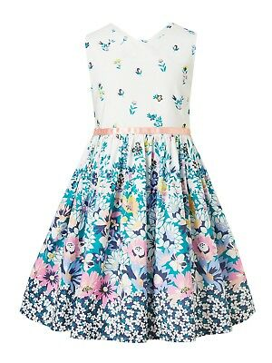 John Lewis Girls' Vintage Floral Dress  White - Blue age 9
