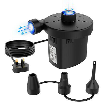 Household electric Air Pump for Inflatables Camping Bed Pool 3 Nozzle UK Plug