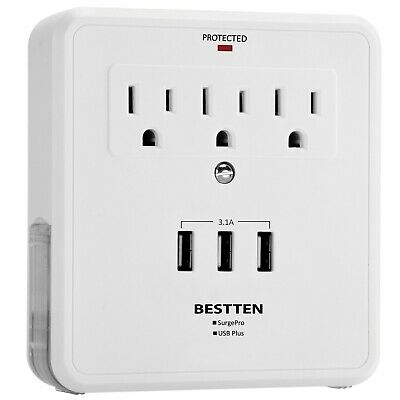 Wall Mount Adapter Surge Protector w/ 3 USB Adapter Phone Charger & 3 AC Outlet