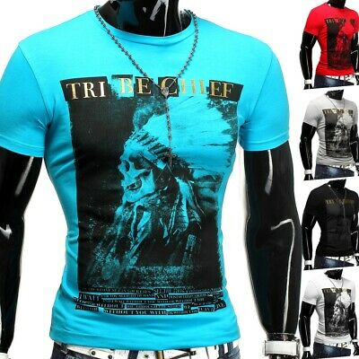 Herren Sommer T-Shirt Polo Stretch Slim fit Clubwear Shirt Tribe Chief