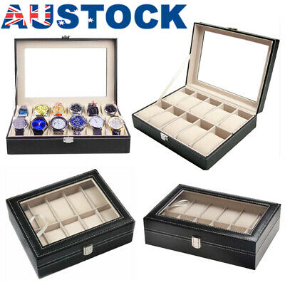 6/10/12/20/24 Grids Watch Display Case PU Leather Jewelry Storager Box Organize