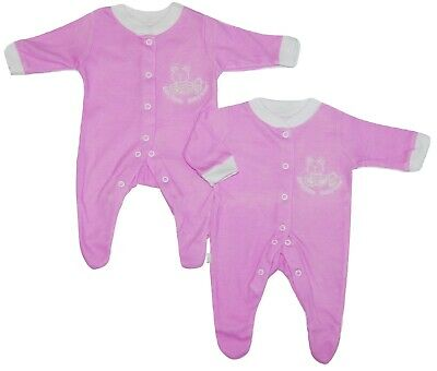 Baby Girl Pink Sleepsuits 2 PACK Baby Safe