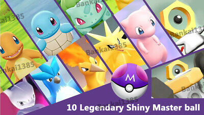 10 Legendary masterball set pokemon Let's Go Available shiny lvl/6IV/AVs