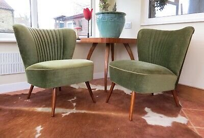 Pair Vintage Mid Century Cocktail Chairs Green Velvet Great Condition Apr19-8