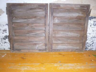 VINTAGE WOODEN SHUTTERS WINDOW   ANTIQUE FRENCH 59x95  FREE post