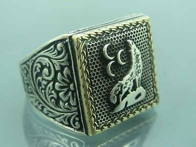 Turkish Handmade Jewelry 925 Sterling Silver Wolf Desing Men's Ring Sz 12