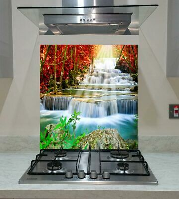 Splashback Toughened Glass Unique Modern Waterfall in Autumn Forest Any Sizes